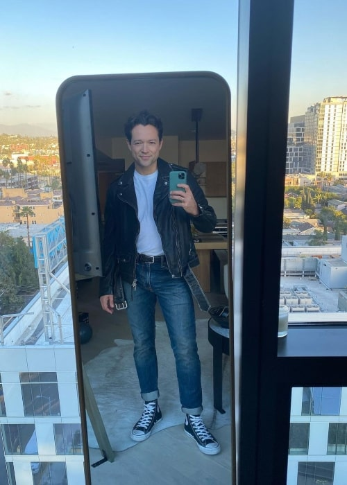 Pasha Pashkov as seen in a selfie that was taken at the CBS studios of Dancing with the Stars in November 2020
