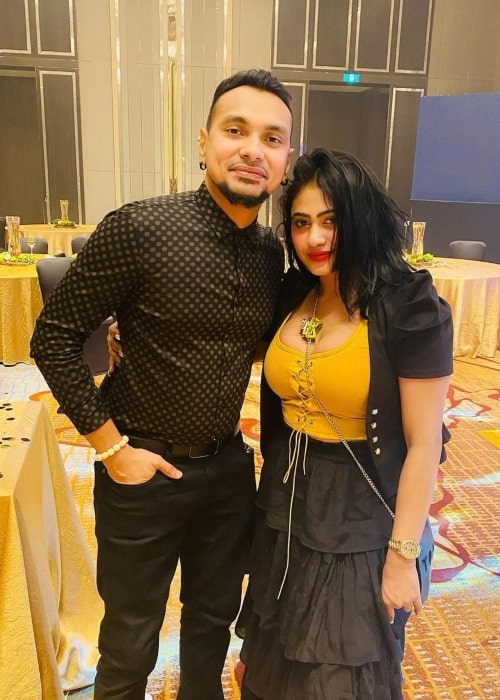 Piumi Hansamali as seen in a picture that was taken with DJ Shane in Shangri-La Hotel, Colombo in February 2021