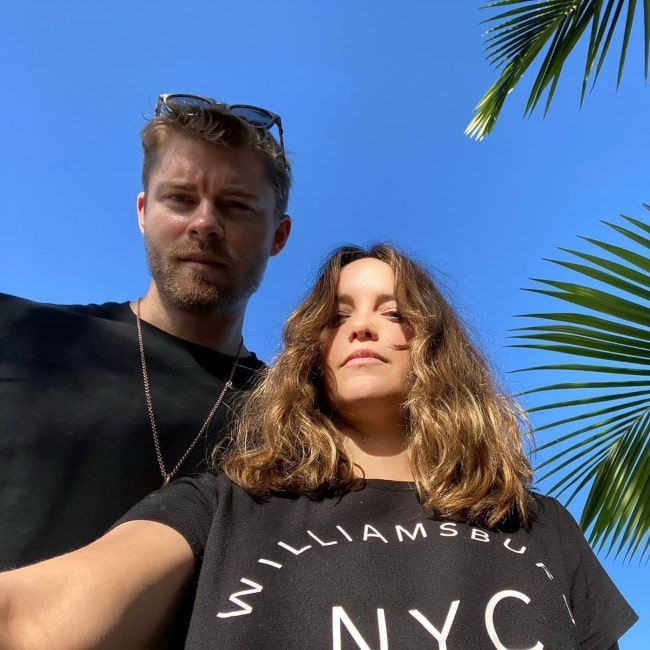 Rebecca Breeds as seen in a selfie that was taken with her beau actor Luke Mitchell in April 2020