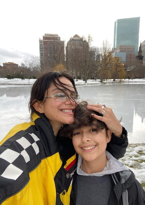 Sasha Calle in January 2021 with her little brother whom she declares to be her little hero