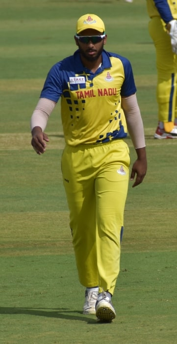 Shahrukh Khan as seen during the 2019-20 Vijay Hazare Trophy in Alur, Bangalore, India