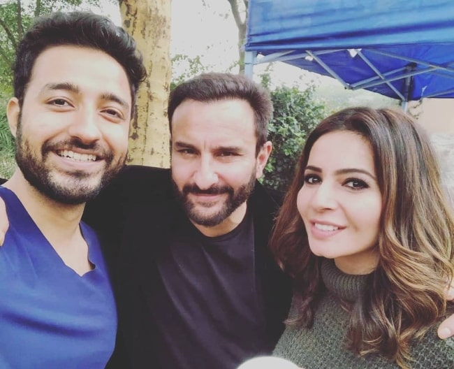Shonali Nagrani with her fellow 'Tandav' castmates Saif Ali Khan (Center) and Paresh Pahuja in an Instagram post in January 2021