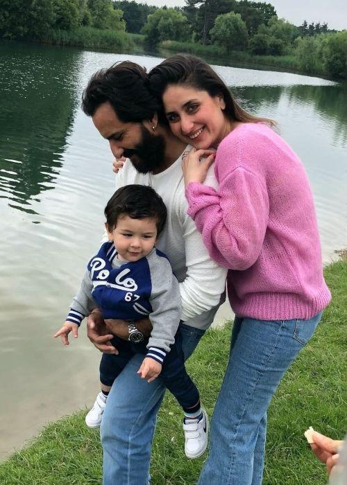 Taimur Ali Khan Pataudi as seen with his parents in 2020