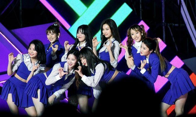 Weki Meki members as seen performing at the Incheon Airport Sky Festival in 2018