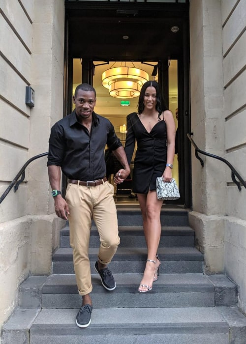 Yohan Blake and Laura Pearson, as seen in August 2019
