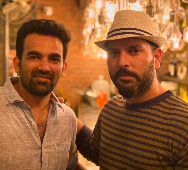 Zaheer Khan (Left) as seen while posing for the camera alongside Yuvraj Singh
