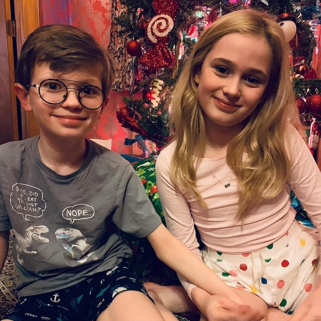 Audrey Grace Marshall in December 2018 with her brother whom she declares to be her BFF for life