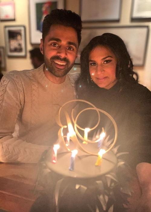 Beena Patel and Hasan Minhaj celebrating Beena's birthday in February 2020