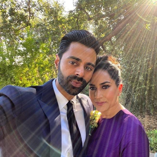 Beena Patel and Hasan Minhaj in October 2020