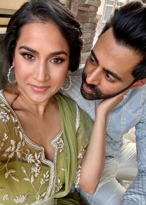 Beena Patel as seen while taking a selfie with Hasan Minhaj in an Instagram post in December 2020