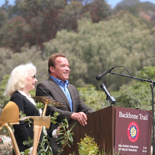 Betty Brosmer and former Governor Arnold Schwarzenegger at the Zuma Canyon on June 4, 2016