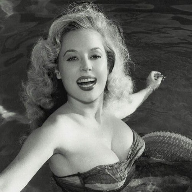 Betty Brosmer as seen in a black and white picture that was taken during her years