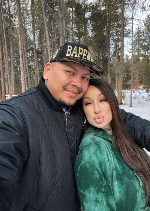 CassieeMUA and her beau Eldon as seen in a selfie that was taken in Lake Tahoe in February 2021
