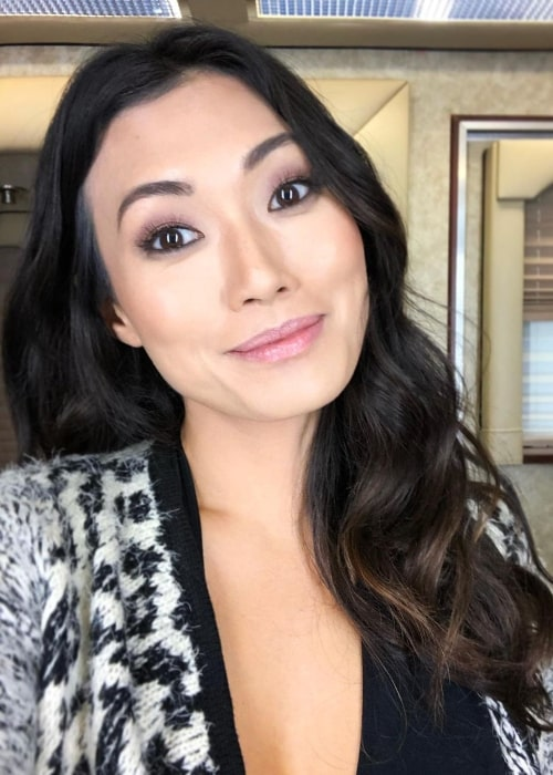 Catherine Haena Kim as seen while smiling for a selfie at Paramount Studios in May 2020