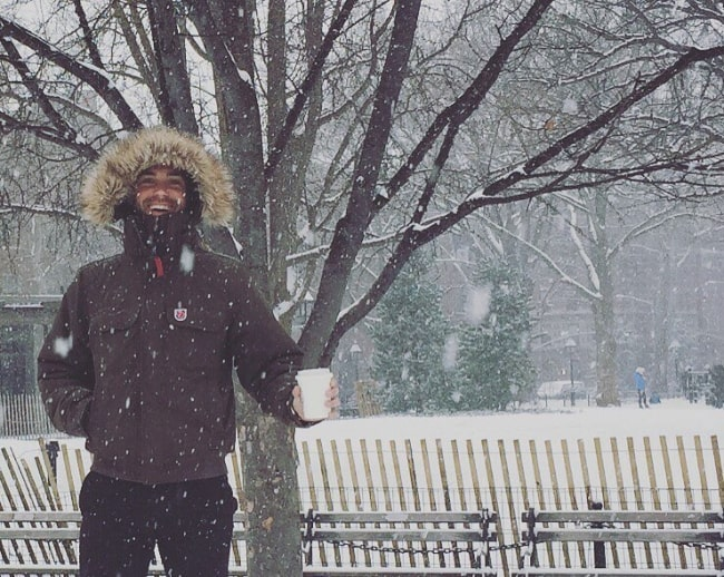 Drew Fuller pictured while enjoying snowfall in January 2017