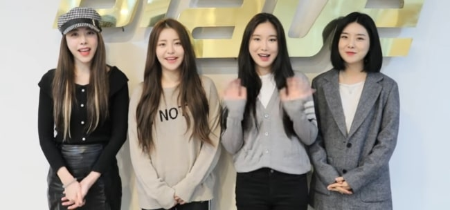 From Left to Right - Brave Girls members Eunji, Yujeong, Minyoung, and Yuna in 2018