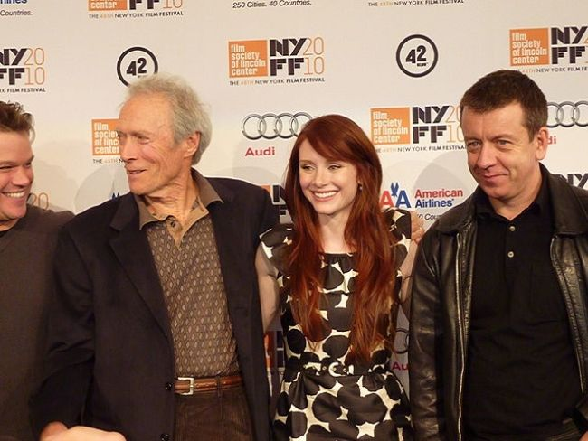 (From left to right) Matt Damon, Clint Eastwood, Bryce Dallas Howard, and Peter Morgan as seen together in 2010