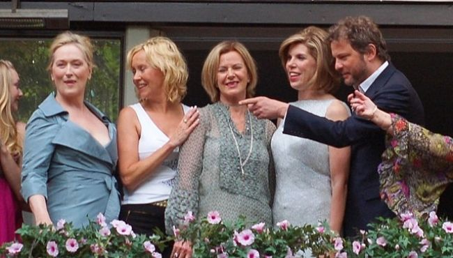 (From left to right) Meryl Streep, Agnetha Fältskog, Anni-Frid Lyngstad, Christine Baranski, and Colin Firth in 2008