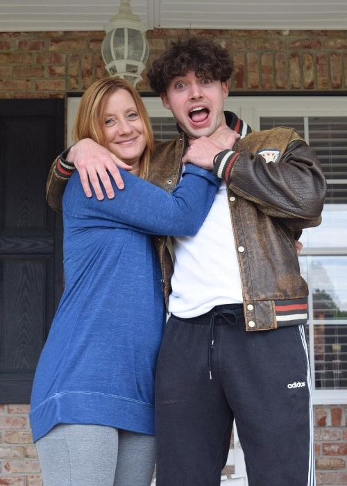 Garrett Overboe as seen while posing for the camera with his mother in an Instagram post in May 2020
