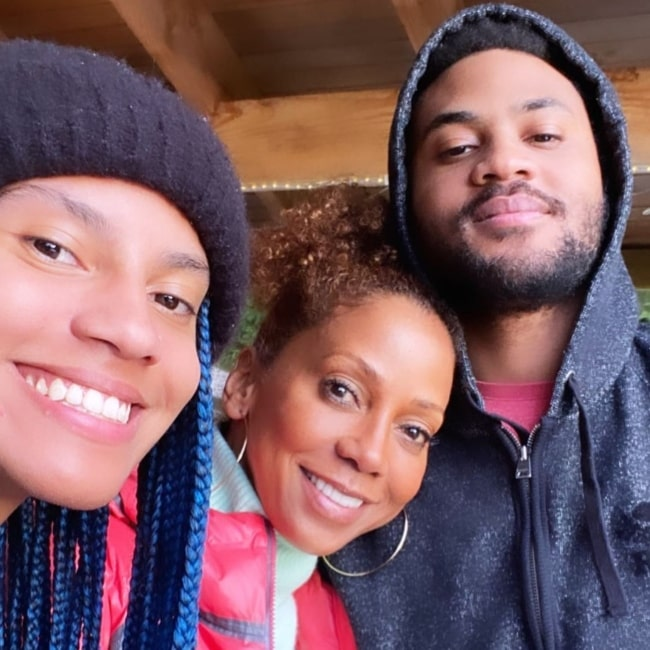 Holly Robinson Peete as seen in a selfie that was taken with her daughter Ryan Peete and son Rodney Jackson in February 2021