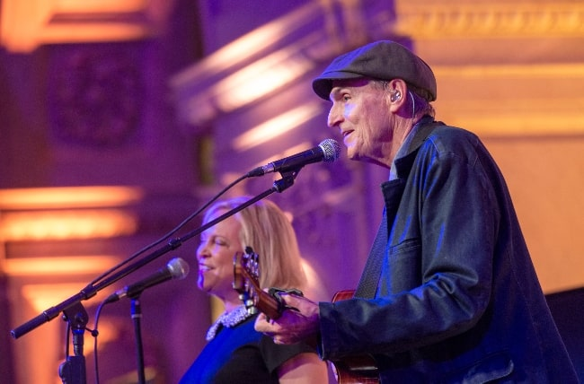 James Taylor and Kim Taylor performing a musical tribute to U.S. Supreme Court Justice Ruth Bader Ginsburg during a ceremony at the Library of Congress in Washington, D.C. on January 30, 2020