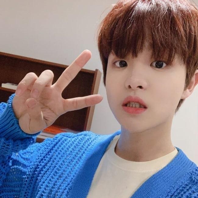 Jihoon in a selfie that was taken in the past