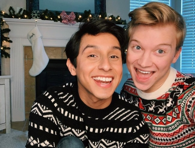 Joe Serafini (Right) and Frankie A. Rodriguez in a Christmas selfie in December 2020