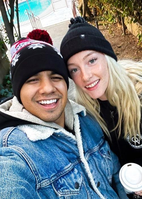 Jordan Buhat as seen while taking a selfie alongside Lucy Buhat in Los Angeles, California