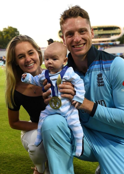 Jos Buttler, with his wife and daughter, as seen in June 2019