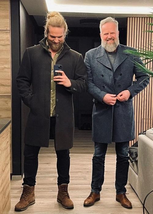 Lasse Lokken Matberg and his father Arne J Matberg in a selfie that was taken in Stavanger, Norway in January 2021