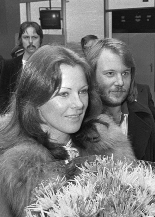 Lyngstad and Benny Andersson as seen arriving at the Amsterdam Airport Schiphol in 1976