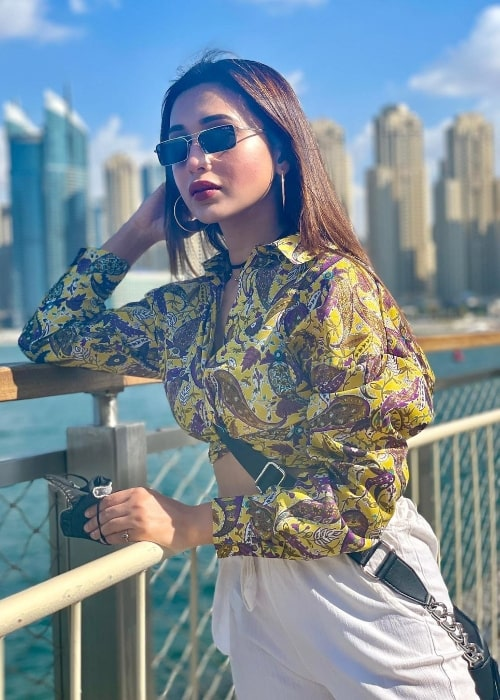 Mimi Chakraborty as seen while posing for the camera