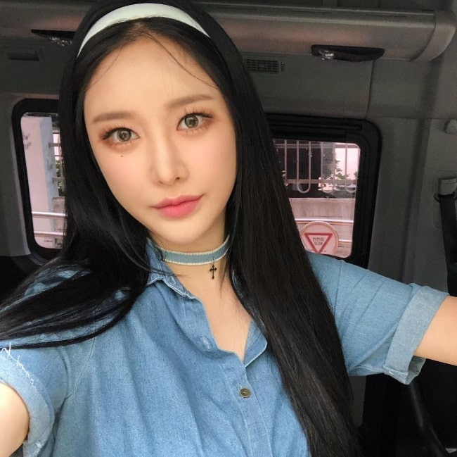 Minyoung as seen while taking a selfie in September 2020
