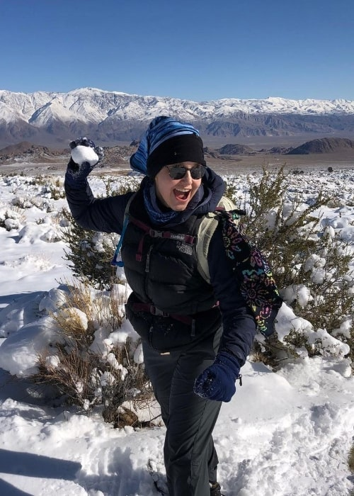 Molly Hagan enjoying her time in snow