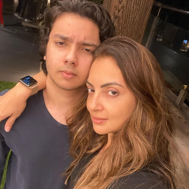 Nirvaan Khan and his mother Seema Sachdev Khan in an Instagram post in February 2020