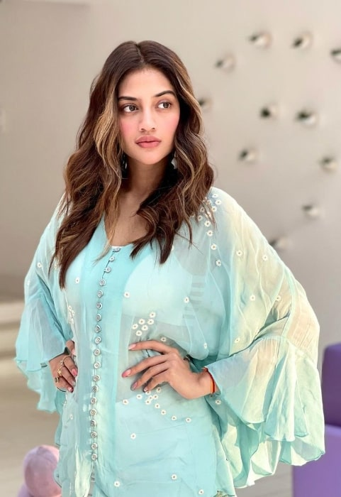 Nusrat Jahan as seen while posing for the camera in March 2021