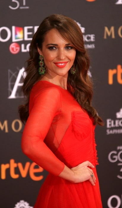 Paula Echevarría as seen while posing for the camera at the Goya Awards in 2017