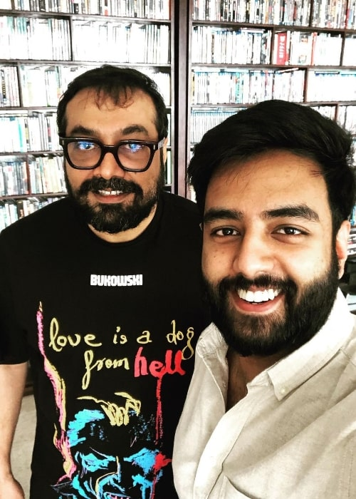 Yashraj Mukhate as seen while taking a selfie with Anurag Kashyap in Mumbai, Maharashtra in September 2020