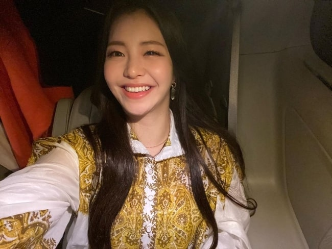 Yujeong as seen while smiling in a selfie in February 2020