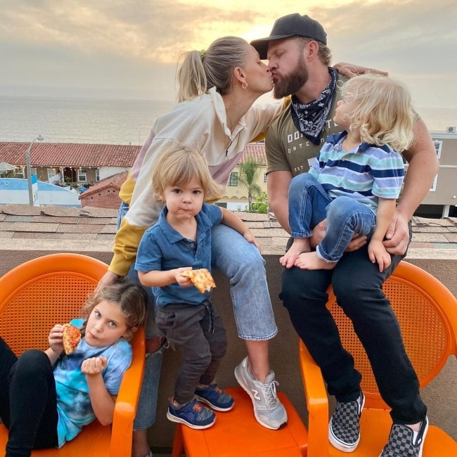A. J. Buckley as seen in a picture that was taken with his beau Abigail Ochse and their children Willow, Ranger, and Bodhi Buckley in March 2021