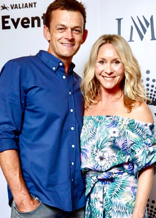 Adam Gilchrist and Melinda Sharpe, as seen in January 2020