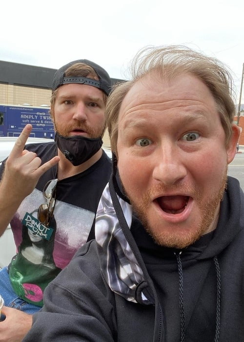 Adam Wylie as seen while taking a selfie with Shane Hartline in February 2021