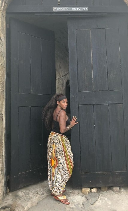 Adrienne-Joi Johnson at Cape Coast, Ghana in March 2020