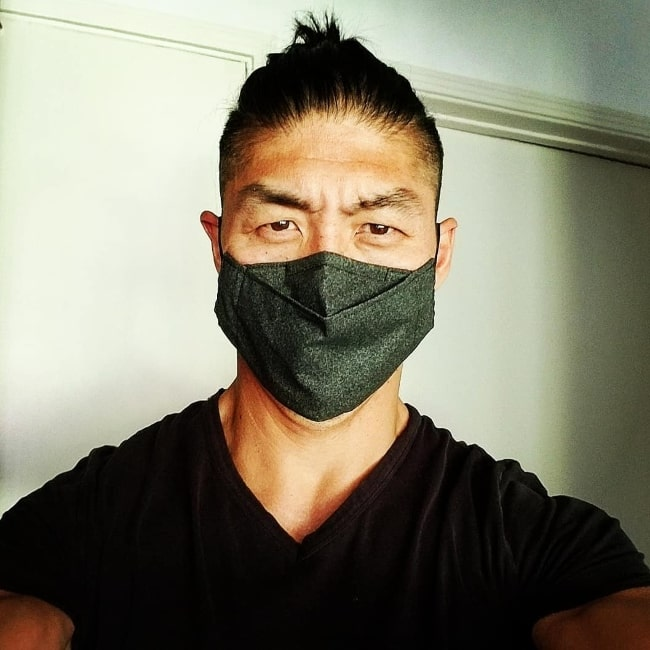 Brian Tee as seen while taking a masked selfie in August 2020