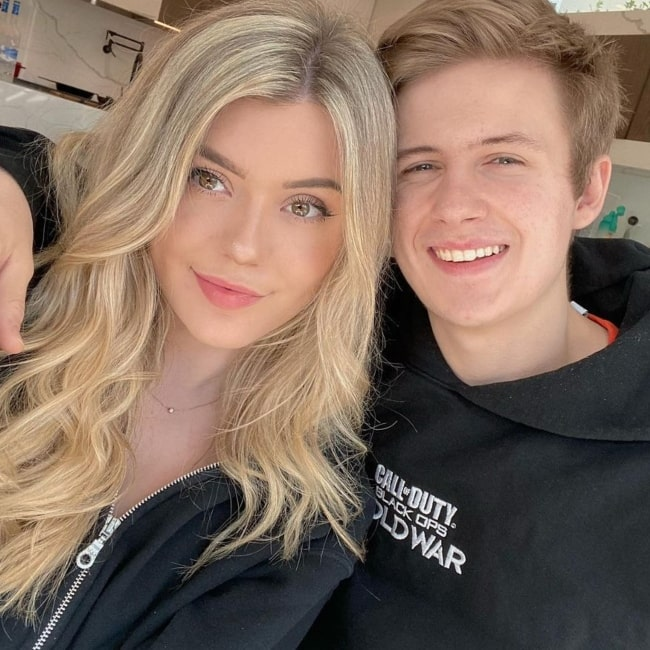 BrookeAB as seen in a selfie with her beau gamer and content creator Symfuhny on Valentines Day in February 2021
