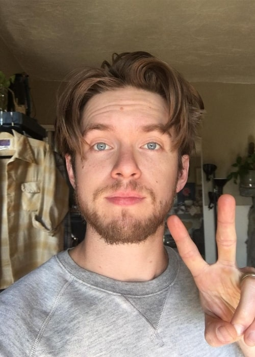 Chris Brochu as seen while taking a selfie in May 2020