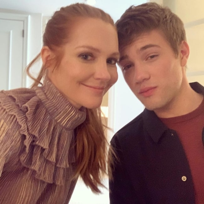 Connor Jessup and Darby Stanchfield in an Instagram post in January 2020