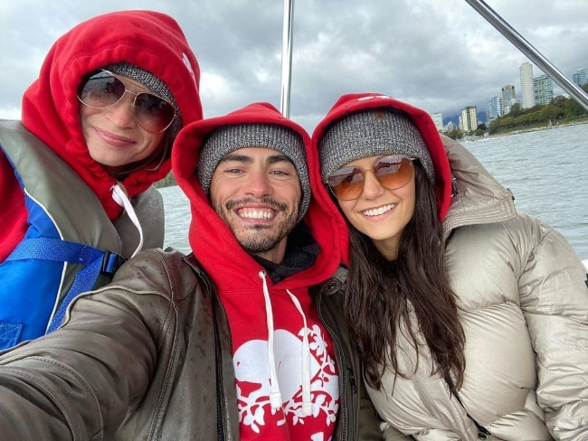 Darren Barnet taking a selfie with Nina Dobrev (Right) and Mary V (Left) in Vancouver, British Columbia