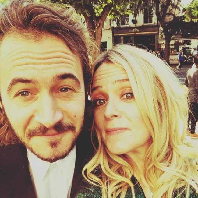 Edith Bowman with her husband in April 2020 wishing him a happy birthday