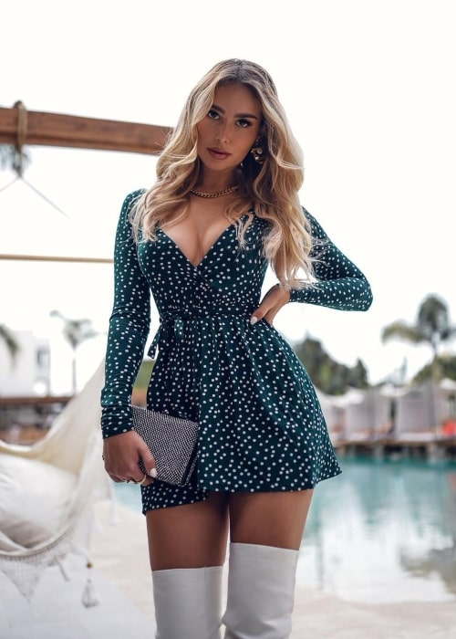 Elena Kamperi as seen in a picture that was taken at The Syntopia Hotel in October 2020
